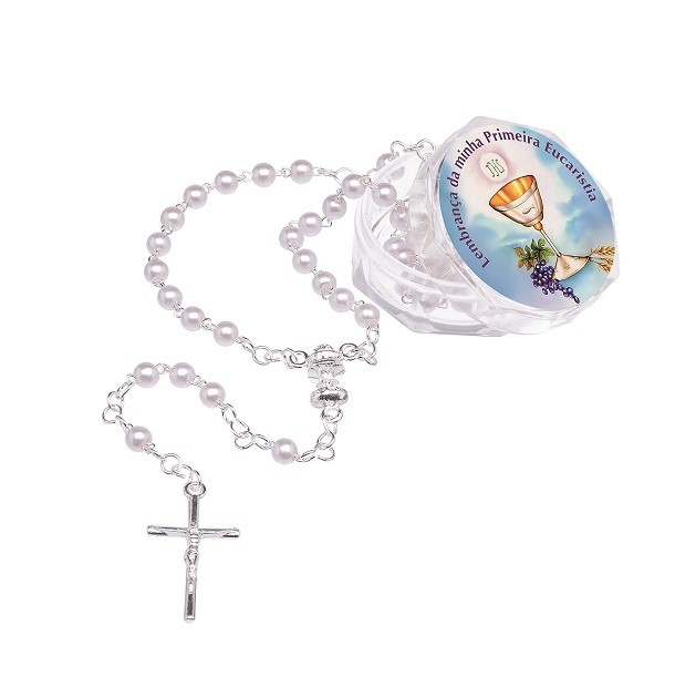 Terço Lembrança Eucaristia - pérola 4mm