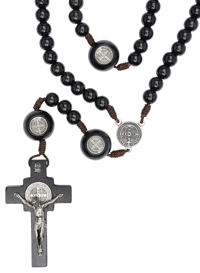 Terço Madeira Preta 10mm Cordão Pai Nossa Medalha São Bento