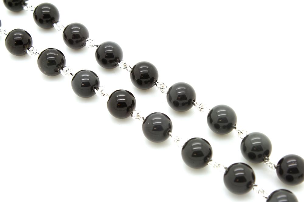 Terço Pedra Obsidiana Negra - 8mm