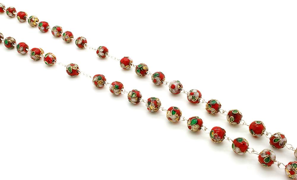 Terço Porcelana Cloisonne - Vermelho -  8mm