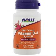 Vitamin D-3 2,000 IU - 120 capsulas NOW Foods