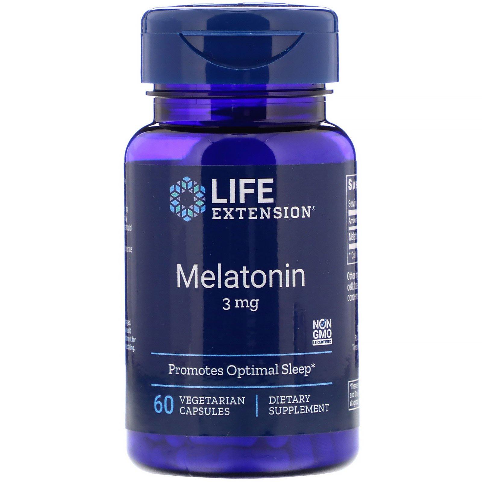 Melatonin 3mg 60 cápsulas life Extension  - Nature Net