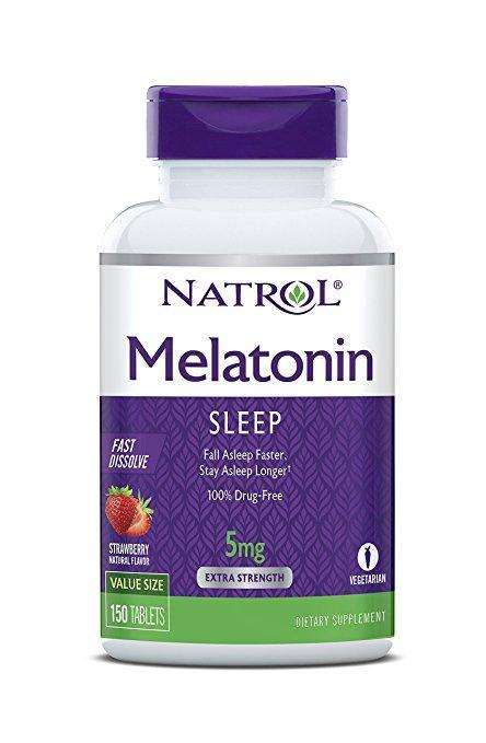 Melatonina 5mg  150 tablets NATROL (Morango)  - Nature Net
