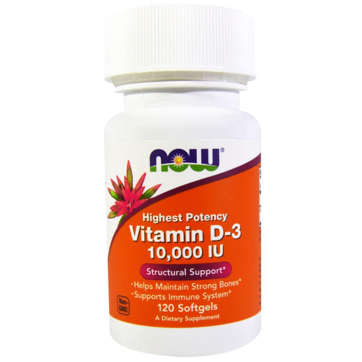 Vitamin D-3 10,000 IU - 120 capsulas NOW Foods   - Nature Net