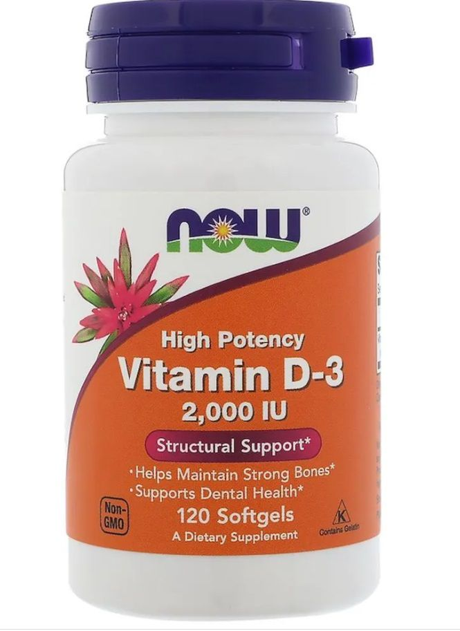 Vitamin D-3 2,000 IU - 120 capsulas NOW Foods   - Nature Net