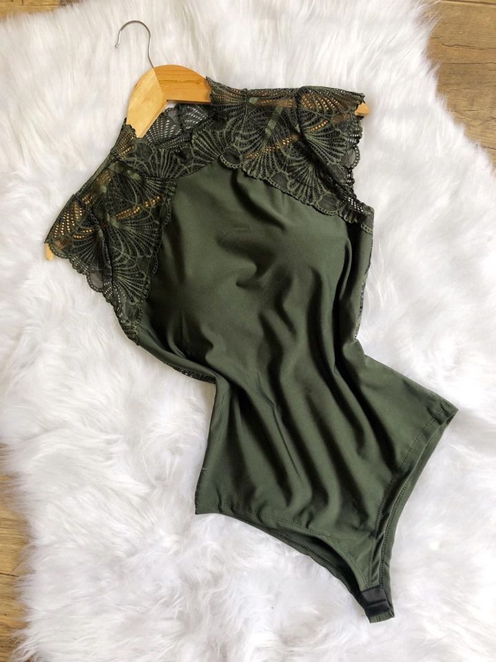 Body Renda   Verde musgo