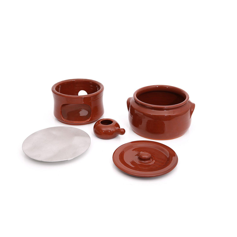 Kit completo Caçarola em cerâmica c/ tampa nº3 + Difusor + Fogareiro