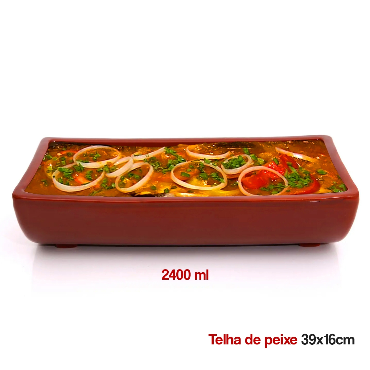 Telha p/ peixe em cerâmica 39x16 - 2400ml - 1821