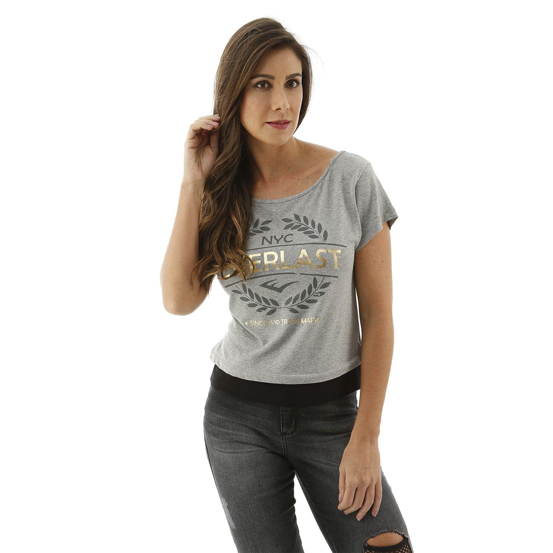 Blusa feminina Everlast cinza com detalhes em dourado