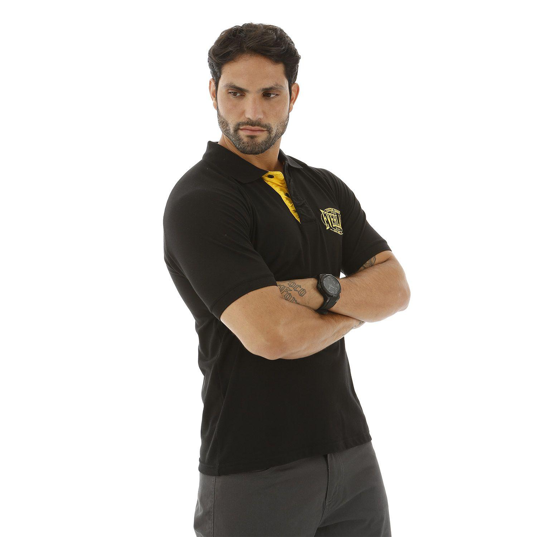 Camisa polo Everlast algodão preta com detalhes em amarelo