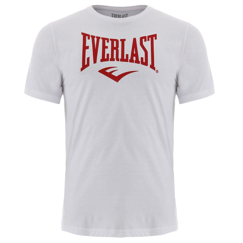 Camiseta Everlast algodão básica branca com vermelho