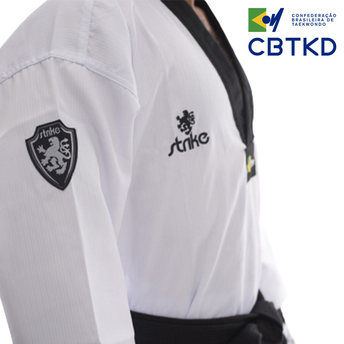 Dobok Strike  Taekwondo Alpha Gola Preta Oficial CBTKD