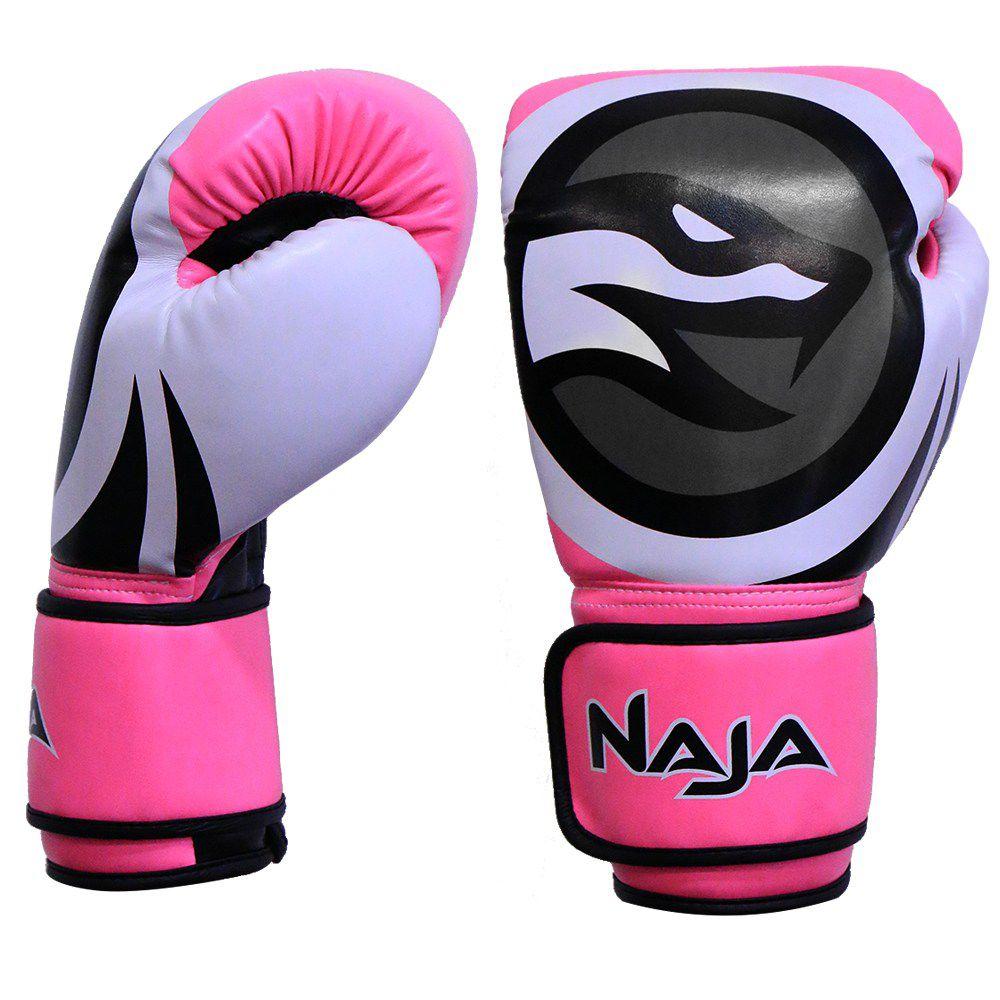 Luva De Boxe Naja Colors Fluor Rosa 12Oz