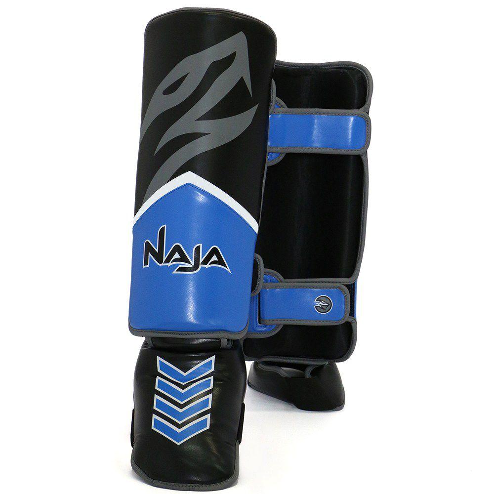 Protetor De Canela Naja  New Extreme Azul Marinho Pequeno