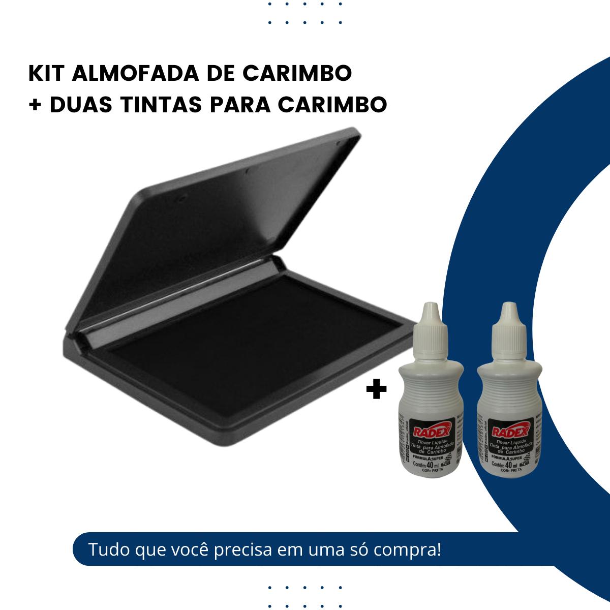Almofada para Carimbo Preta com 2 Refil Tinta Incluso
