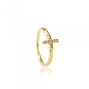Anel de Falange Cross Dourado