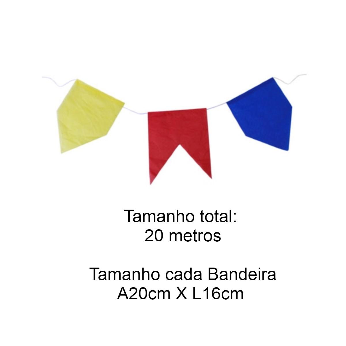 Bandeirinha de Seda Festa Junina c/ 20metros Edu Festa