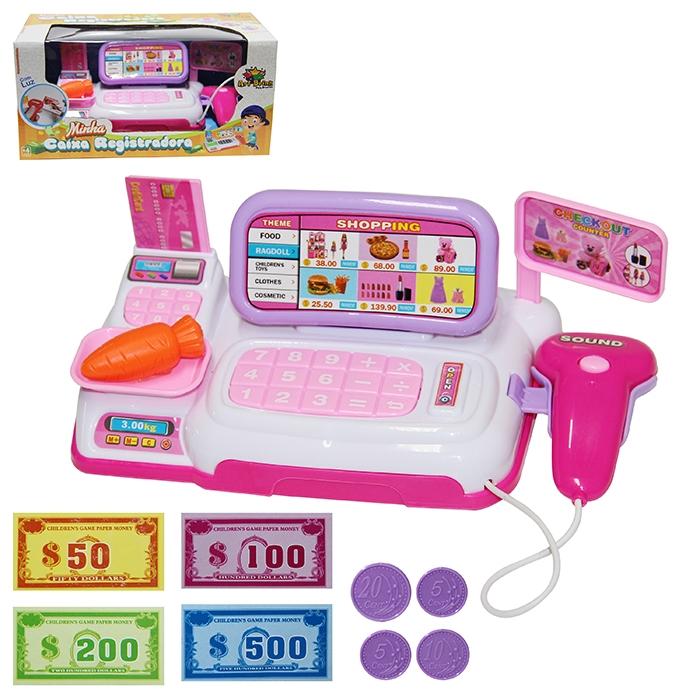 Brinquedo Caixa Registradora Rosa c/ 10 Acessórios Art Brink