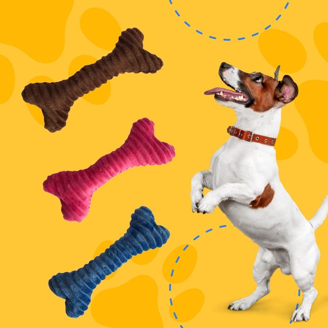 Brinquedo Mordedor Pet com Apito Osso de Pelúcia Mimo Pet