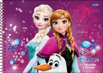 Caderno Cartografia e Desenho Frozen Magic Elsa e Anna Jandaia