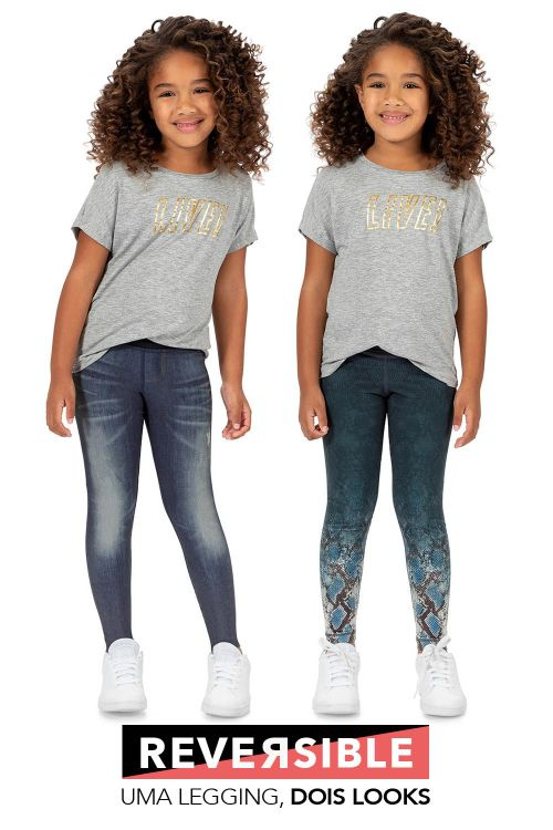 Calça Legging Jeans Reversible City Jog Kids Live