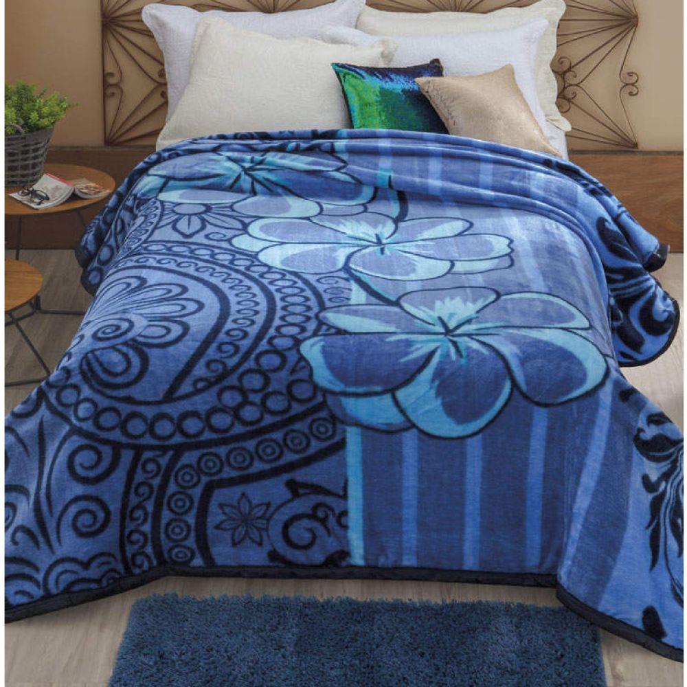 Cobertor Casal Dyuri Nuria em Poliéster Azul Jolitex