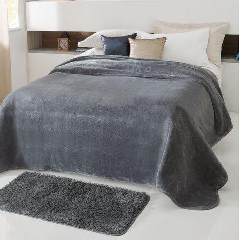 Cobertor Casal Kyor Plus Cinza 1 Peça Microfibra Jolitex
