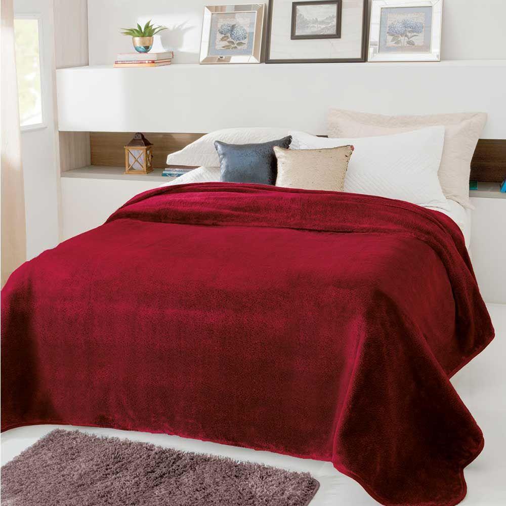 Cobertor Casal Kyor Plus Vinho Liso Toque Macio Jolitex