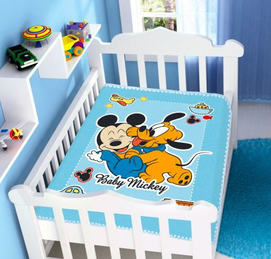Cobertor Infantil Raschel Mickey E Pluto Divertido Azul Jolitex