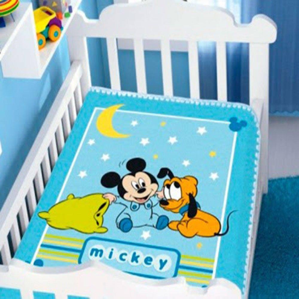 Cobertor Infantil Raschel Mickey E Pluto Soninho Azul Jolitex
