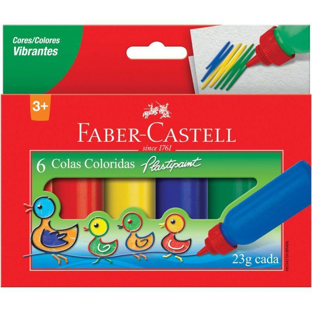 Cola colorida Plastipaint 23g 6 un Faber-Castell