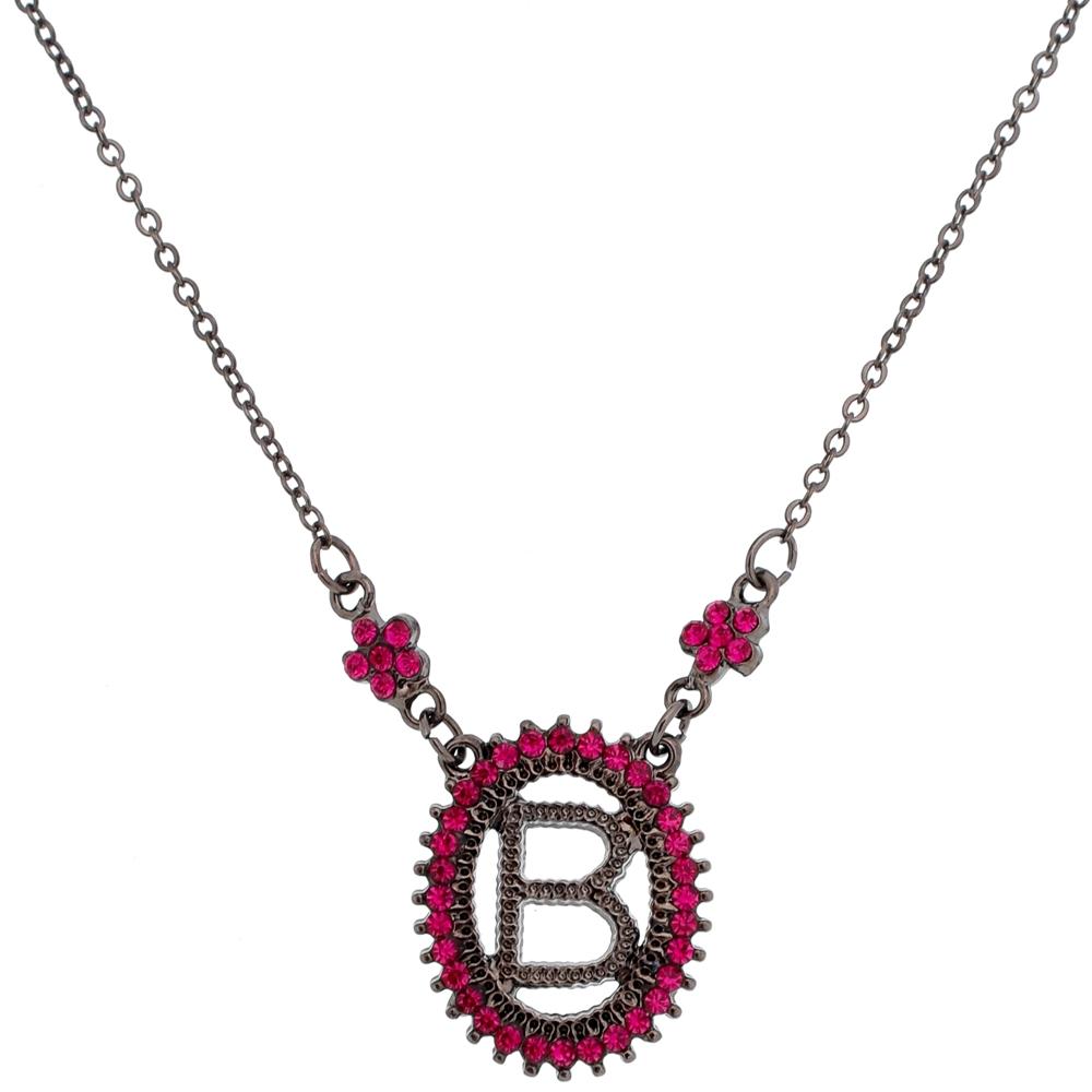 Colar Inicial do Nome Letra B Pink