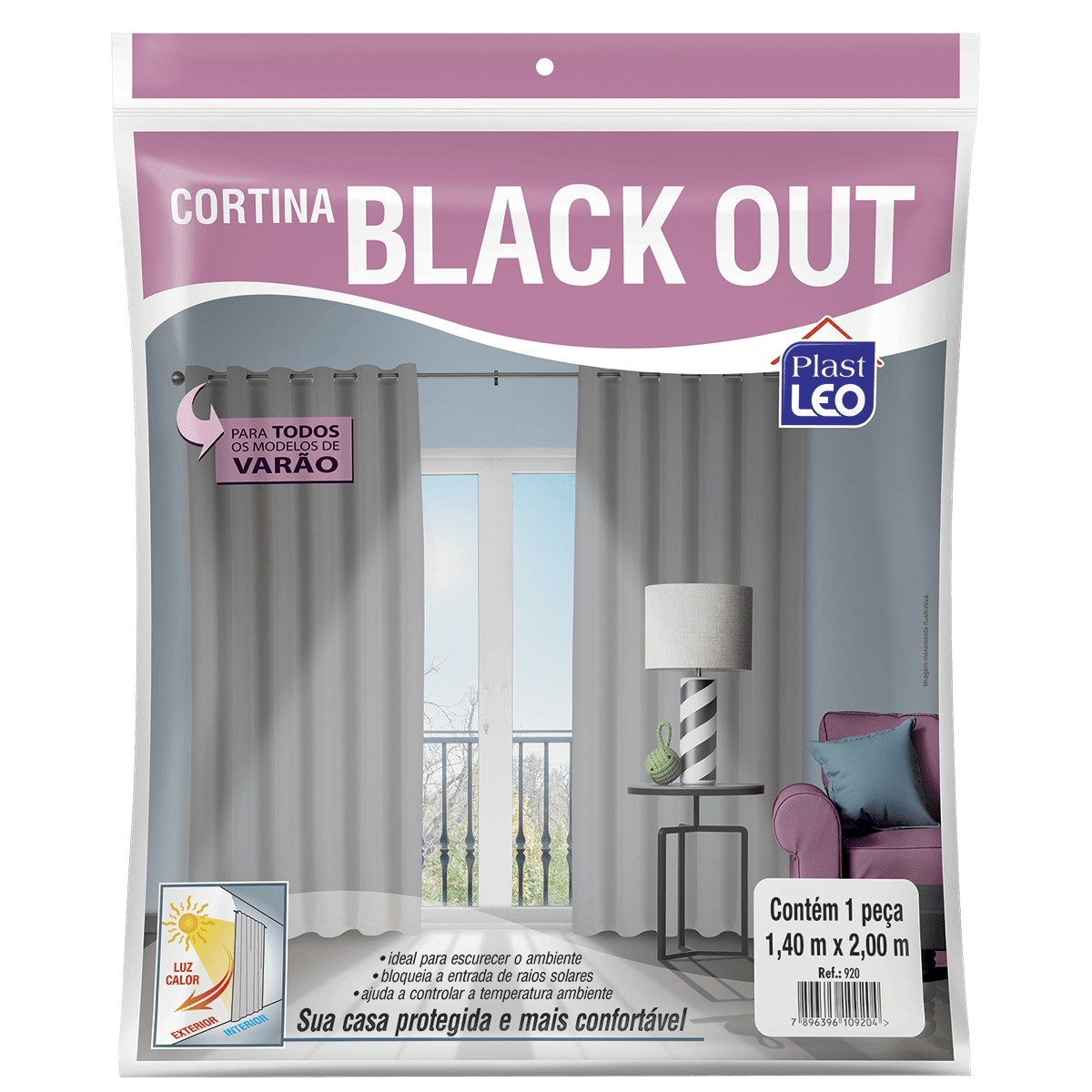 Cortina Black Out para Varão 1,40m X 2,00m 920 Plast Leo