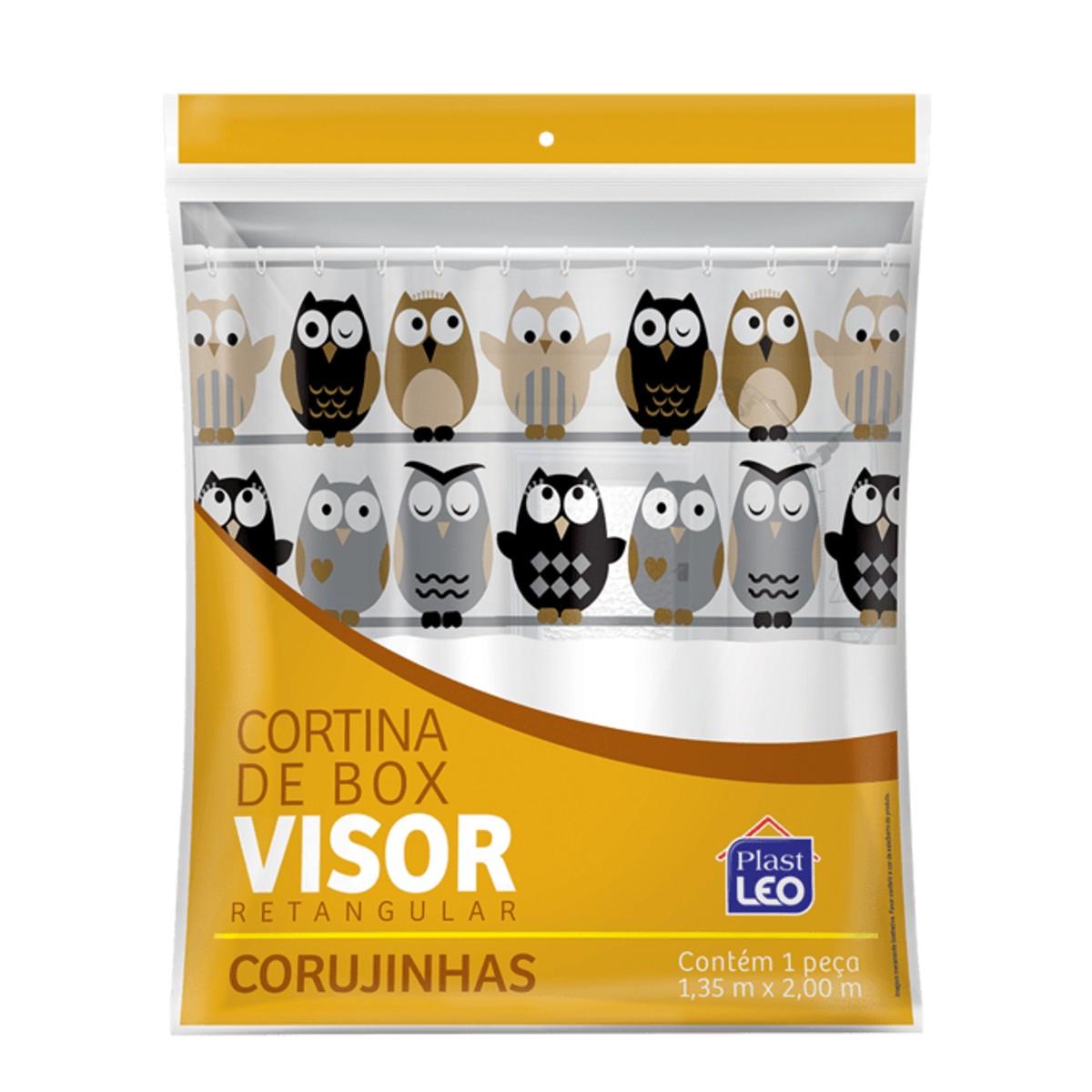 Cortina de Box Vinil Corujinhas com Visor Retangular e Ganchos Plast Léo