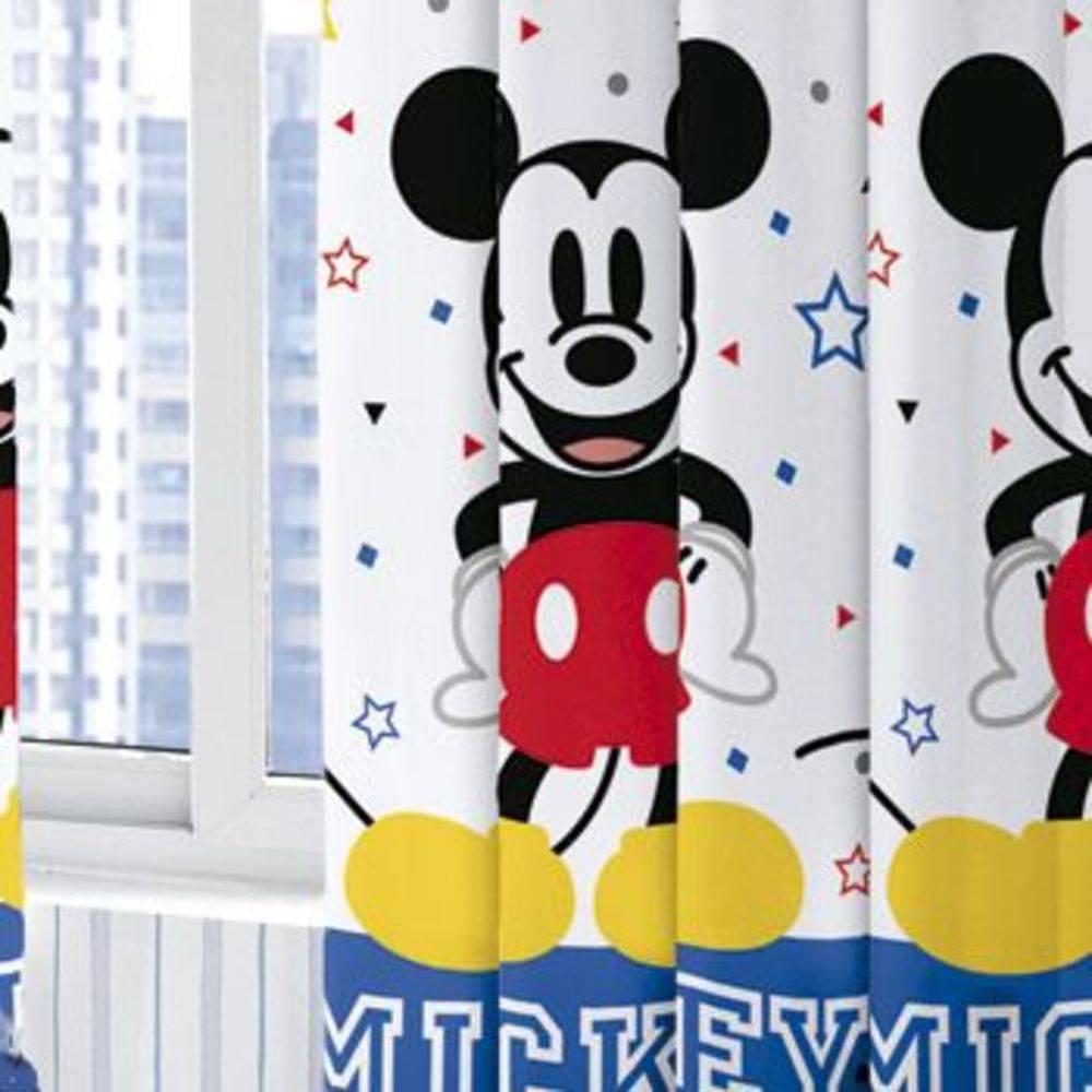 Cortina Infantil Disney Mickey Play 280X180cm Azul Santista