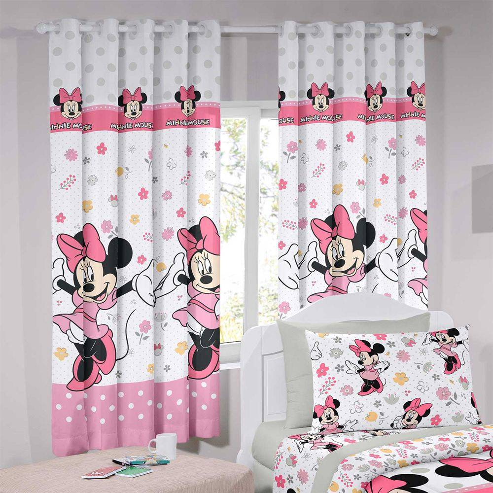 Cortina Infantil Disney Minnie Happy 280X180cm Rosa Santista
