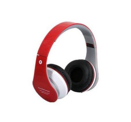 Fone Ouvido Vermelho Head Phone S Fio Cartão Sd Fm Bluetooth B01