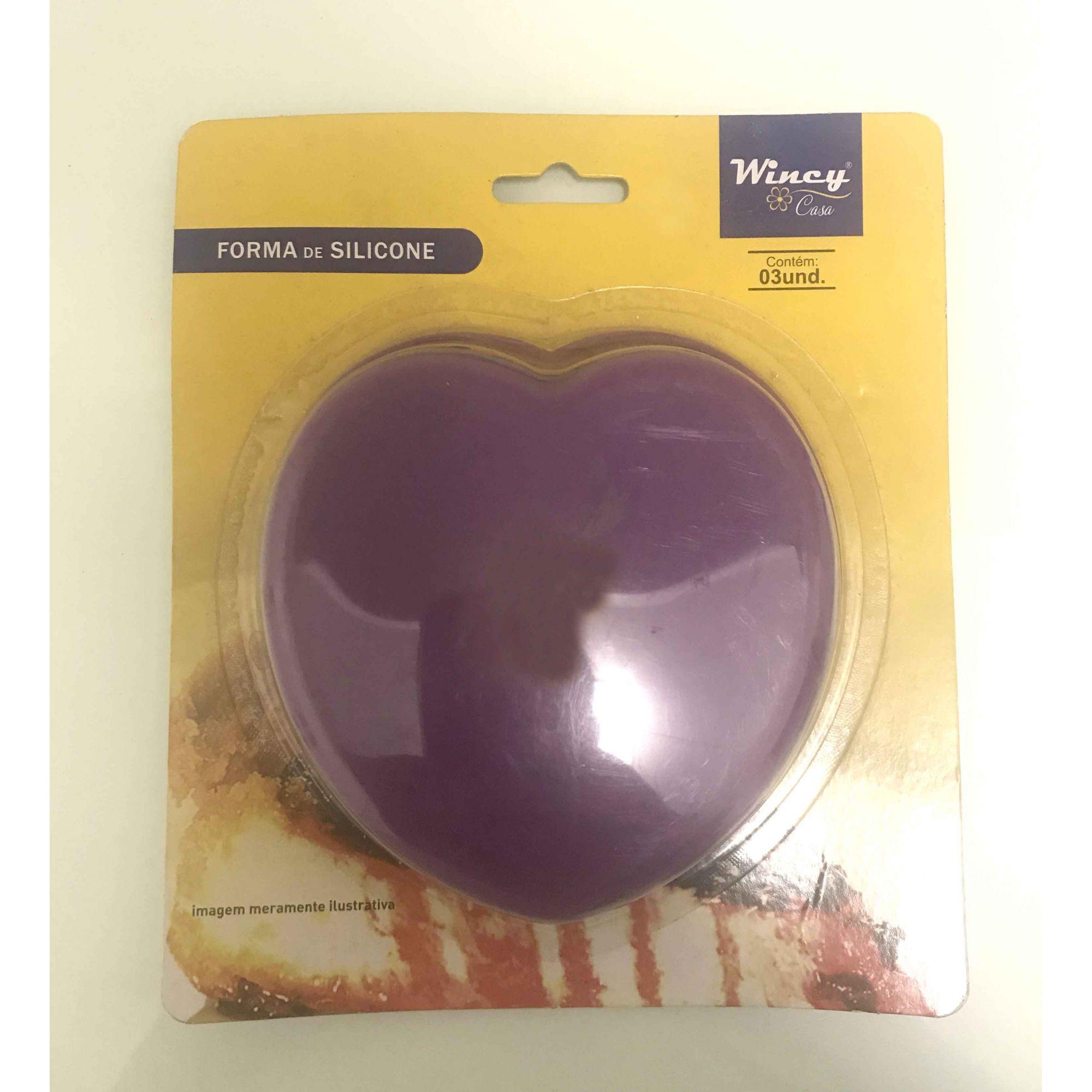 Forma de silicone coração com 3 unidades Wincy