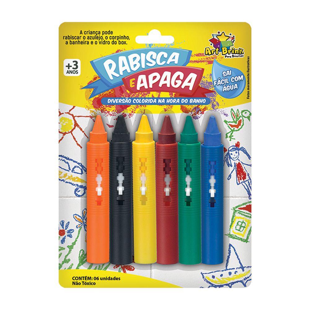 Giz Rabisca e Apaga Azulejo Banheira Vidro do Box c/ 6 Art Brink