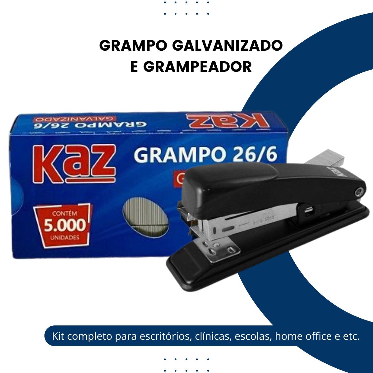 Grampeador Metal + 5000 Grampos 26/6 Galvanizados Escritório
