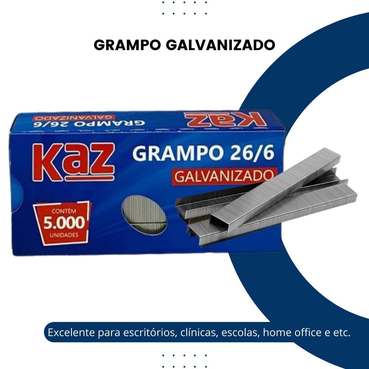 Grampo Galvanizado 26/6 Escritório Grampeador Office 5000uni