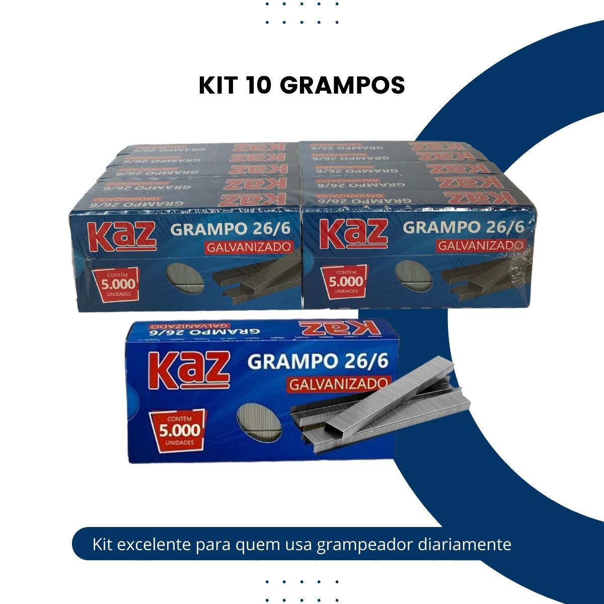 Grampo para Grampeador 26/6 Galvanizado 10 Cxs C/ 5000units