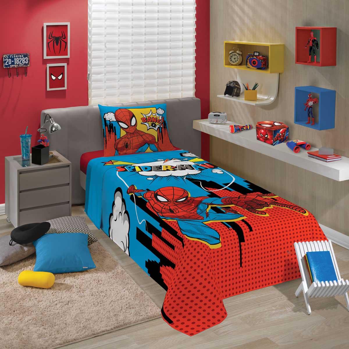 Jogo de Cama Spider Man Homem Aranha 59472 com 3 peças Lepper