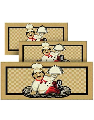 Jogo de Tapete para Cozinha 3 peças Palha Chefe J. Serrano