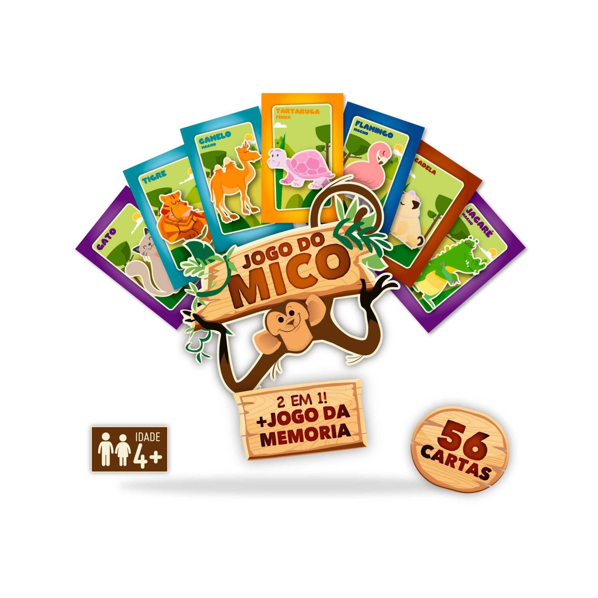 Jogo Do Mico + Jogo Da Memória 56 Cartas 2 Em 1 Pais Filhos