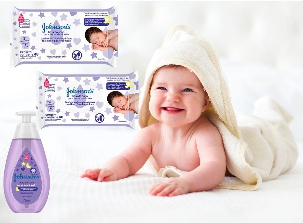 Kit Hora do Sono Johnsons Baby Sabonete Líquido + 2pct Lenço Umedecido