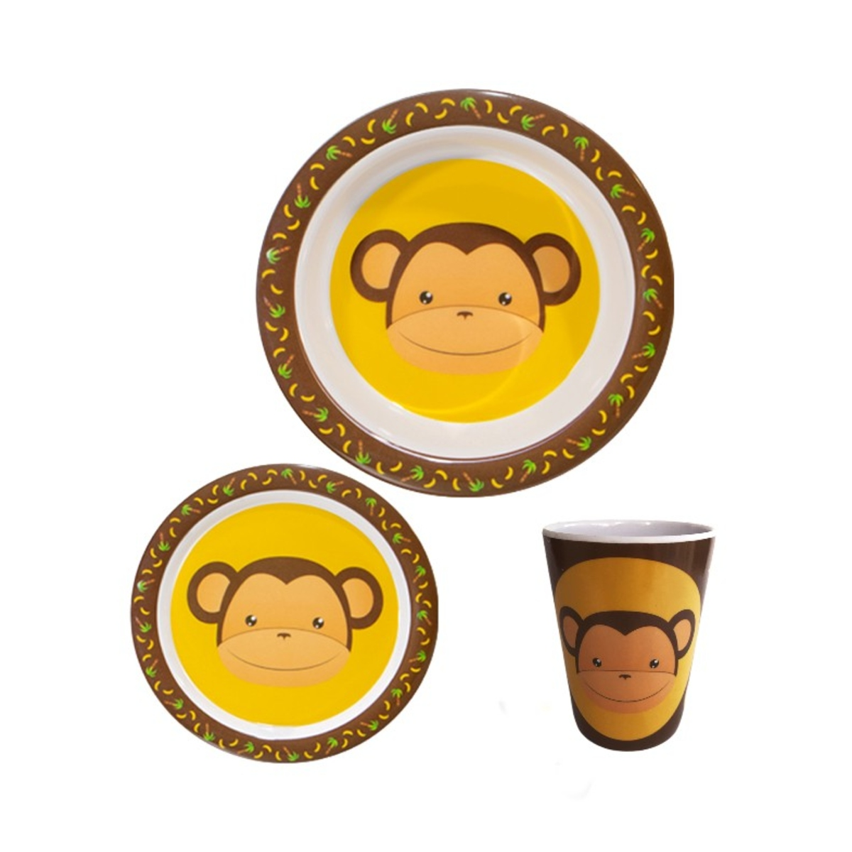 Kit Refeição Infantil Melamina Macaco 3Peças Art House
