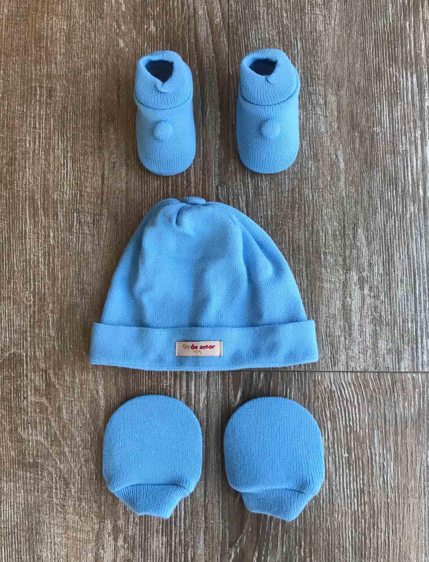 Kit Sapatinho + Luva + Touca de Tricot Azul Bebê Fio de Amor Baby