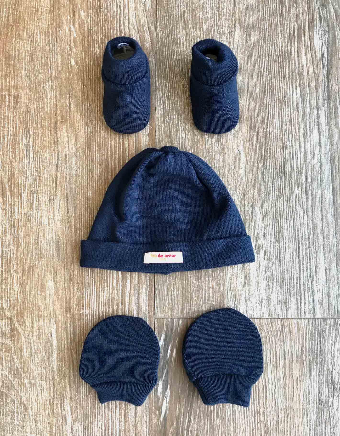 Kit Sapatinho + Luva + Touca de Tricot Azul Marinho Fio de Amor Baby