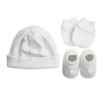 Kit Sapatinho + Luva + Touca de Tricot Branco Fio de Amor Baby
